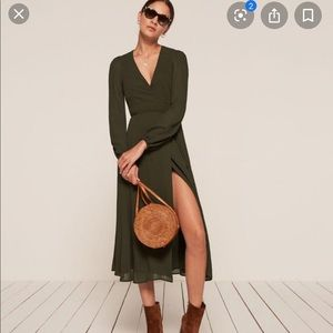 Reformation Nicole Dress in Hunter Green